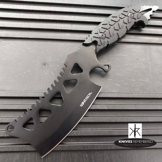 "11"" FIXED BLADE CLEAVER Style FULL TANG CAMPING HUNTING Black Knife with Sheath - CUSTOM ENGRAVED"