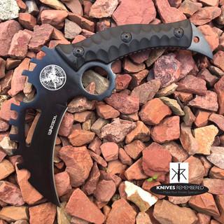"8.5"" Full Tang Tactical Karambit Combat GEAR HIKING Fixed Razor Blade Black Knife - CUSTOM ENGRAVED"