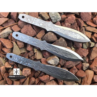 "3PC 6 1/2"" Ninja Kunai Throwers Etched Samurai Warrior Throwing Knife Set - AB7CHS - Custom Engraved"