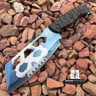 "9.5"" FIXED BLADE Blue CLEAVER Style FULL TANG CAMPING HUNTING Knife w/ Sheath - Custom Engraved"