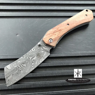 Camping Hunting Assisted Open Pocket Folding Knife Buckshot Cleaver Razor Blade Damascus - Custom Engraved