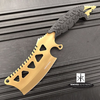 "11"" FIXED BLADE CLEAVER Style FULL TANG CAMPING HUNTING Gold Knife with Sheath - CUSTOM ENGRAVED"
