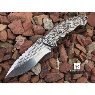 "8 1/4"" Collectible Japanese Tatsu Dragon and Skull Design Assisted Open Pocket Folding Silver Knife RAZOR Blade - CUSTOM ENGRAVED"