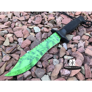 "12"" COUNTER-STRIKE JUNGLE CS GO FIXED Blade KNIFE Hunting Bowie MILITARY TACTICAL Saw Back Razor Blade w/Sheath Green - CUSTOM ENGRAVED"