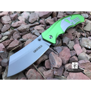 "7.75"" BLACK PUNISHER CLEAVER Pocket Folding KNIFE Spring Assisted HUNTING RAZOR Green - CUSTOM ENGRAVED"