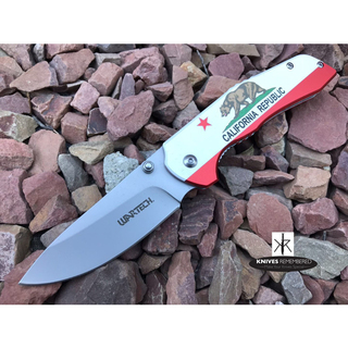 "8"" TACTICAL HUNTING Pocket Folding OUTDOOR Knife Assisted Open Drop Point Blade California Flag - CUSTOM ENGRAVED"