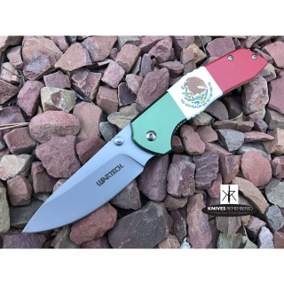 "8"" TACTICAL HUNTING Pocket Folding OUTDOOR Knife Assisted Open Drop Point Blade Mexico Flag - CUSTOM ENGRAVED"