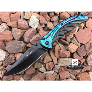 "8.375"" Drop Point Assist Open POCKET RAZOR BLADE Knife for Camping Hunting Outdoor Blue - CUSTOM ENGRAVED"