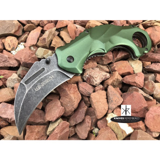 "7.875"" Stonewashed Karambit Hawk Bill Blade Tactical Outdoor Sturdy Aluminum Handle & Blade Pocket Folding RAZOR BLADE Knife Green - CUSTOM ENGRAVED"