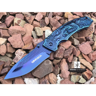 "8.25"" Collectible Camping Hunting FANTASY DRAGON ETCHED Folding Blade TITANIUM COATED Handle COMBAT Pocket Knife Blue - CUSTOM ENGRAVED"