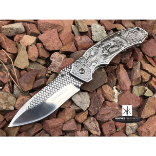 """8.25"""" Collectible Camping Hunting FANTASY DRAGON ETCHED Folding Blade TITANIUM COATED Handle COMBAT Pocket Knife Silver - CUSTOM ENGRAVED"""