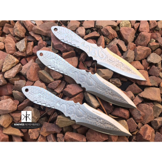 "3PC 6.5"" Dragon Etched Throwing Knife Set with Sheath Ninja Kunai Combat Sharp Throwers Outdoor Silver - CUSTOM ENGRAVED"