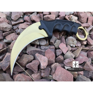 Cs Go Tactical Karambit Hawkbill Knife Survival Hunting Fixed Blade ABS Handle Gold - CUSTOM ENGRAVED