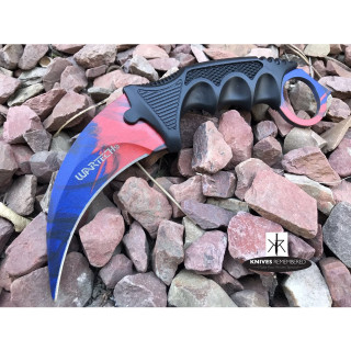 Cs Go Tactical Karambit Hawkbill Knife Survival Hunting Fixed Blade ABS Handle Blue/Red - CUSTOM ENGRAVED