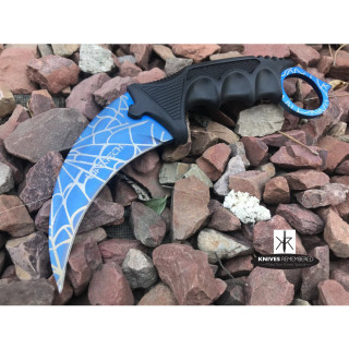 Cs Go Tactical Karambit Hawkbill Knife Survival Hunting Fixed Blade ABS Handle Blue/Web - CUSTOM ENGRAVED