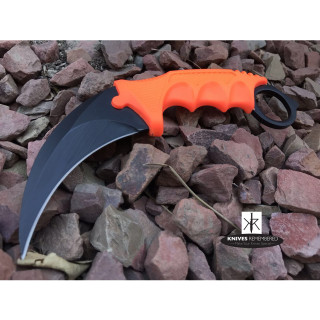 Cs Go Tactical Karambit Hawkbill Knife Survival Hunting Fixed Blade ABS Handle Orange - CUSTOM ENGRAVED