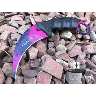 Cs Go Tactical Karambit Hawkbill Knife Survival Hunting Fixed Blade ABS Handle Purple - CUSTOM ENGRAVED