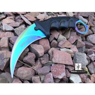 Cs Go Tactical Karambit Hawkbill Knife Survival Hunting Fixed Blade ABS Handle Rainbow - CUSTOM ENGRAVED
