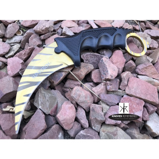 Cs Go Tactical Karambit Hawkbill Knife Survival Hunting Fixed Blade ABS Handle Tiger Claw - CUSTOM ENGRAVED