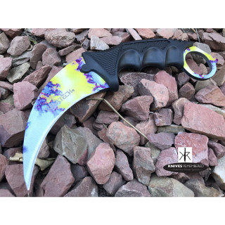 Cs Go Tactical Karambit Hawkbill Knife Survival Hunting Fixed Blade ABS Handle Yellow Paint - CUSTOM ENGRAVED