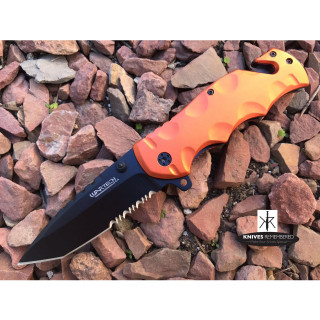 "8"" Tactical SWAT Assisted Opening Rescue Folding Knife Orange - CUSTOM ENGRAVED"