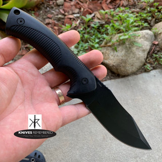 "9"" Full Tang Black Tactical Knife with Paddle Holster - Custom Engraved"