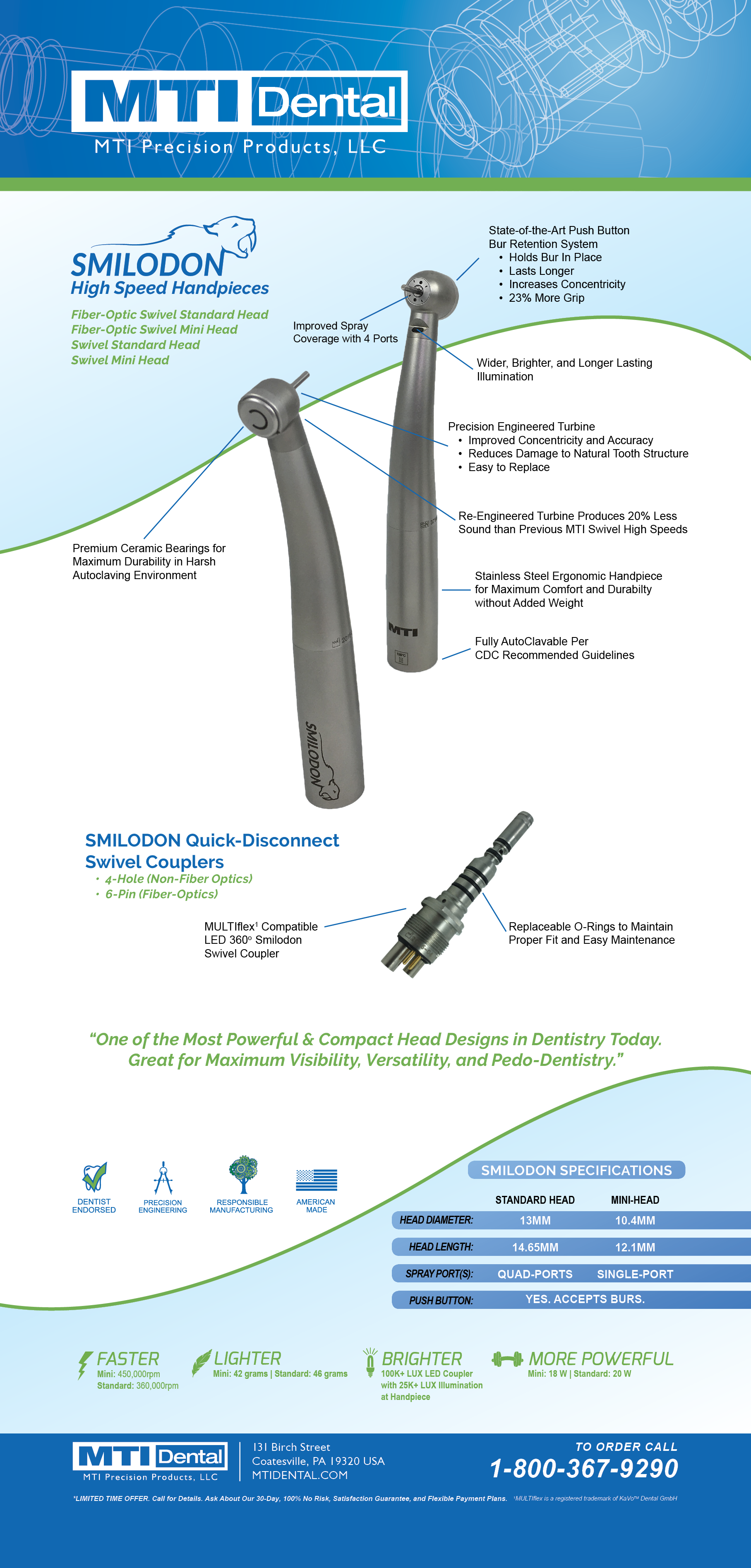 MTI Dental SMILODON High Speed Handpieces