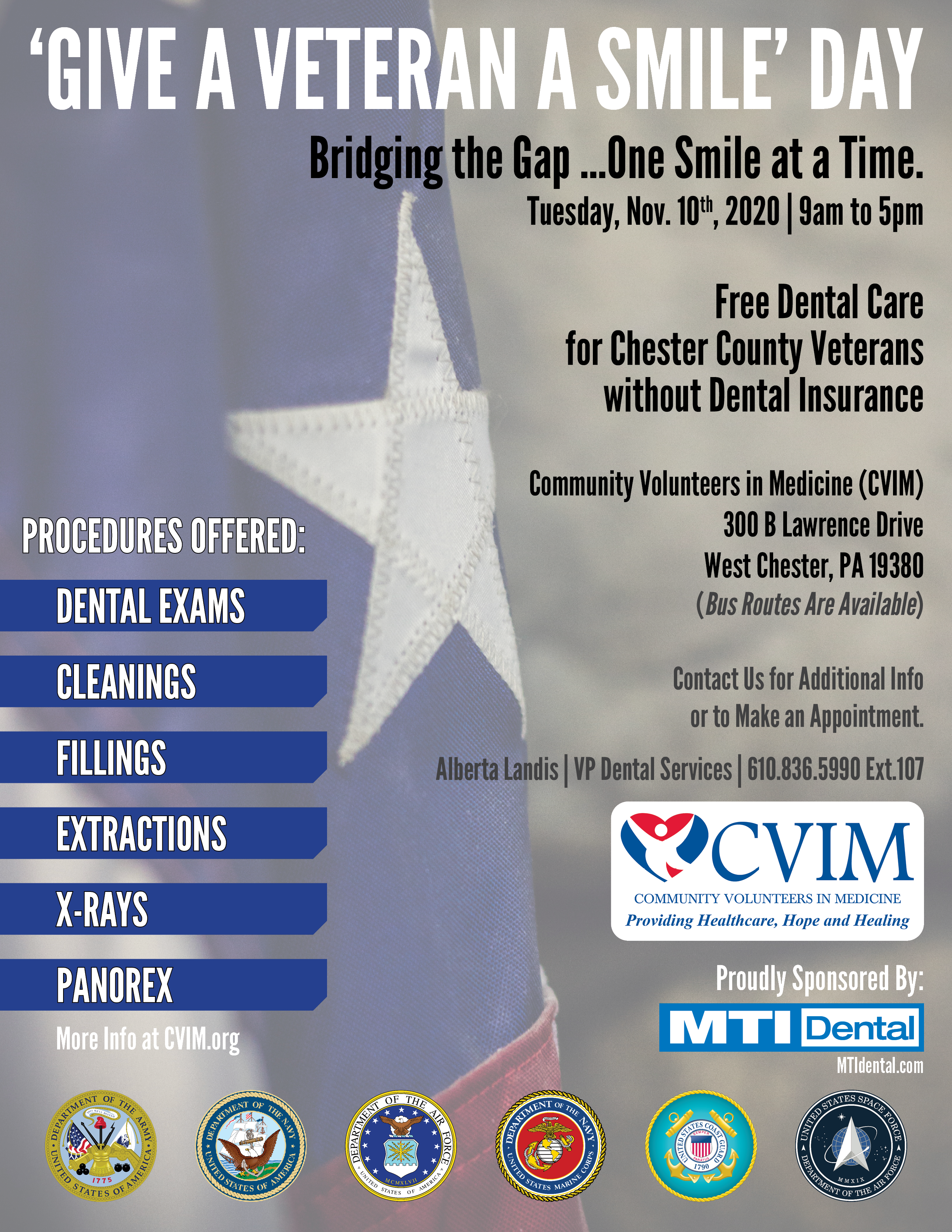 Give a Veteran A Smile Day, by CVIM and MTI Dental.
