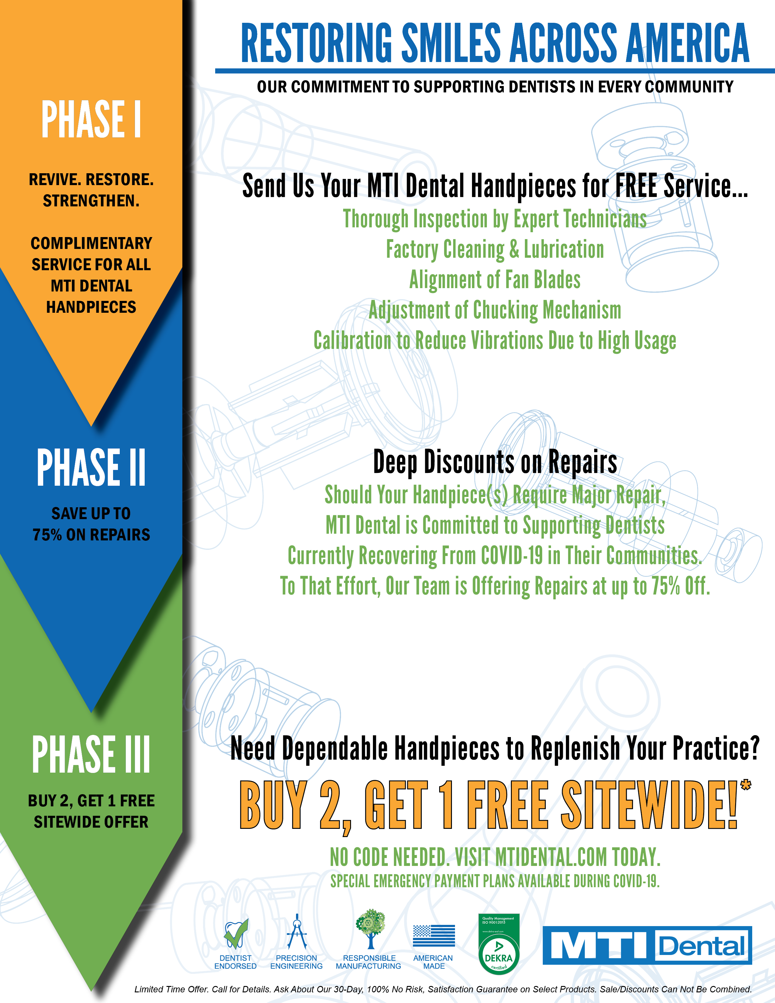 MTI Dental Restoring Smiles Across America, Buy 2 Get 1 Free Sitewide Sale