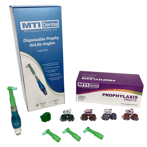 Single Quick-Disconnect Master Prophy Polisher + 600CT. Prophylaxis Paste + 600CT. Disposable Prophy Angles (Combo Pack). Color of Prophy Polishing Handpiece Will Differ Based on the Prophy Handpiece Color you Select.