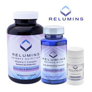 Relumins Advanced White Oral Glutathione & Vitamin C MAX Capsules - Ultimate Whitening Set. Glutathione, Vitamin C, and Booster Caps give you bright, white, and healthy skin