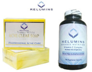 Relumins Professional Acne Clear Soap + Relumins Advance Vitamin C - Max Skin Whitening Complex With Rose Hips & Bioflavanoids