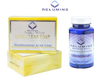 Relumins Professional Acne Clear Soap + Relumins White Oral Whitening Formula Capsules - New & Improved with Rose Hips