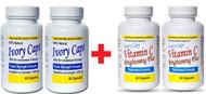 (Pack of 2) Ivory Caps Skin Whitening Lightening Support Pill & Vitamin C Brightening Plus Set