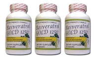 Pure Premium RESVERATROL GOLD 1250mg (Pack of 3)