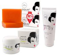 Set of Kojie San Skin Lightening (Kojic Acid Soap 2 Bars - 65g + Body Lotion + Face Cream)