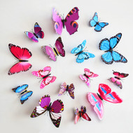 12pcs Removable DIY home stickers 3D three-dimensional wall stickers butterfly fridge magnet wedding decoration