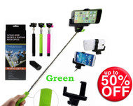 Bluetooth Shutter Extendable Handheld Green Selfie Stick Monopod For IPhone Anroid - Wireless Mobile Phone Monopod - Green