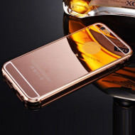 Luxury fashion mirror ultra slim metal case for Apple iPhone with aluminum frame hard back cover for iPhone 6 Plus (Rose Gold)