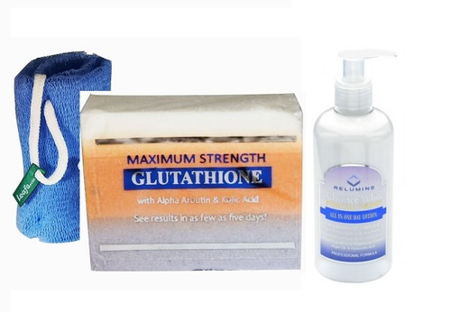 Authentic Relumins Advance White Body Whitening & Exfoliating Set with Leefa Soap Net, Maximum Whitening & Peeling Soap, Stem Cell Therapy All in One Day Lotion