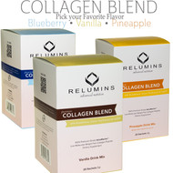 Relumins Premium Collagen Blend - 100% Premium-Grade ActuMarine Collagen with Glutathione, Green Tea Extract and CoQ10 -  Blueberry Flavor