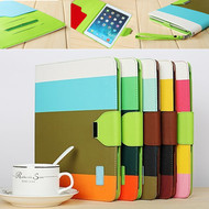 Rainbow Stripes Metal Buckle Contrast Color Stand Leather Case For ipad Air