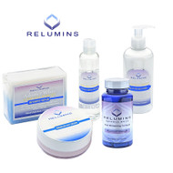 Relumins Advanced Day Skin Whitening and Protection Set -Oral Capsules,Lotion, Intensive Repair Solution, Cream, Stem Cell Soap