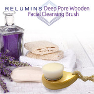 Wooden cleansing brush, stick-up dish