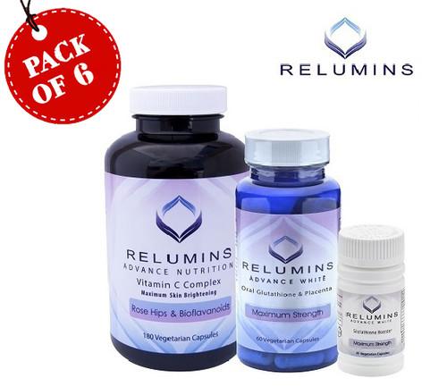 Relumins Skin Whitening Boosters & Vitamin C Capsules - 6 Sets