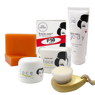Kojie San Skin Whitening Face & Body Lightening 5 PC Set - With Soap, Body Lotion, Face Cream and Brush