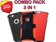 3 in 1 Silicone Light weight & Leather Case for iPhone 6/ iPhone 6S Black, Orange, Red - (Pack of 3)