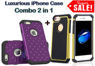 Exclusive Combo 2 in 1 Diamond Hybrid Dual Layer Armor Hard Case & Football Pattern Luxirious Case for iPhone 6 & 6S [4.7] - Yellow,Purple