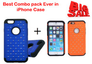 "Best Combo Offer 2 in 1 Diamnond Bling Hybrid Dual Layer Armor Protective Case for iPhone 6/6S[4.7""] - Blue,Orange"