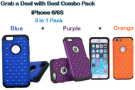 "3 in 1 Diamond Hybrid Dual Layer Hard Protective Case for iPhone 6/6S [4.7""] - Blue,Purple,Orange"